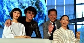 "Former astronaut and the director of the museum, Mamoru Mori (2nd R), and Osaka University professor Hiroshi Ishiguro (2nd L) pose with new female humanoid robots ""Otonaroid"" (R) and ""Kodomoroid"" (L) at the National Museum of Emerging Science and Technology in Tokyo on June 24, 2014.  Japanese scientists unveiled what they said was the world's first news-reading android, eerily lifelike and possessing a sense of humour to match her perfect language skills.    AFP PHOTO / Yoshikazu TSUNO"